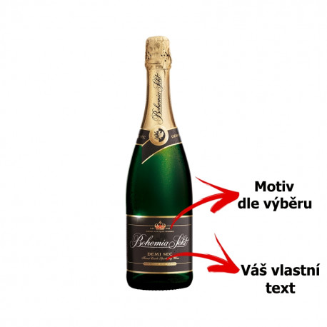 Your - Bohemia Sekt sandblasted bottle with motive of gliders of your choice and your text