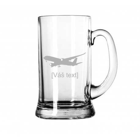 Your - Sandblasted glass litre with motive of a transport aircraft of your choice and your text