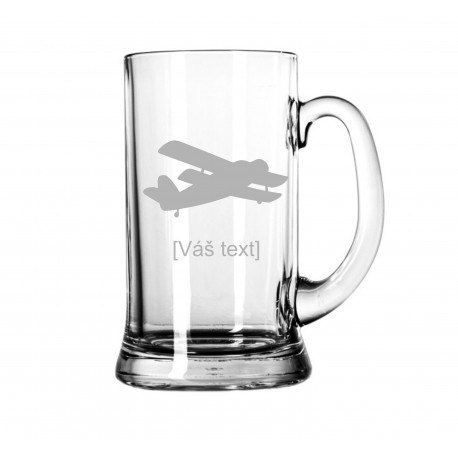 Your - Sandblasted glass litre with motive of a sport aircraft of your choice and your text