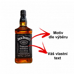 SESTAVTE SI: Pískovaná flaška Jack Daniels s motivem dopravní letadla dle výběru a Vaším textem