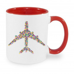 Ceramic mug - Colorful plane, different color