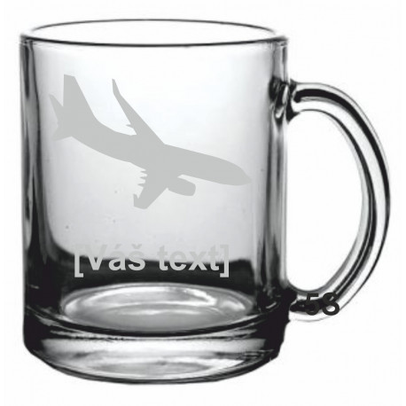 Your - Sandblasted glass mug with motive of a transport aircraft of your choice and your text