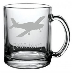 Your - Sandblasted glass mug with motive of a sport aircraft of your choice and your text