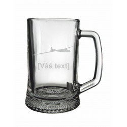 Your - Sandblasted glass half a pint with motive of a gliders of your choice and your text