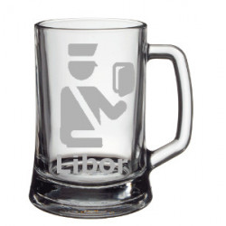 Your - Sandblasted glass half a pint with motive of a airport, of your choice and your text