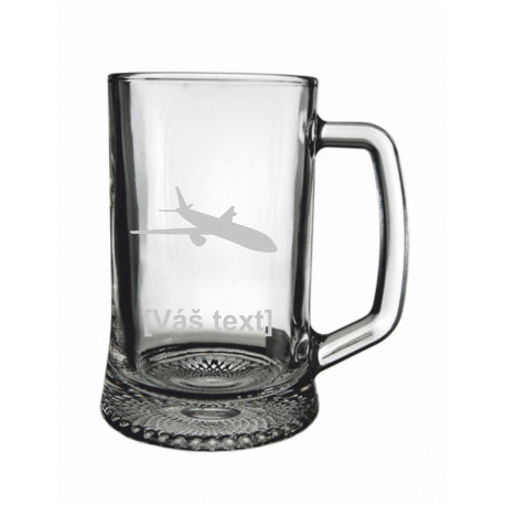 Your - Sandblasted glass half a litre with motive of a transport aircraft of your choice and your text