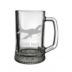 Your - Sandblasted glass half a litre with motive of a sport aircraft of your choice and your text