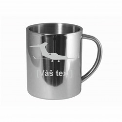Your - Sandblasted stainless steel mug with motive of a transport aircraft of your choice and your text