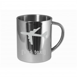 Your - Sandblasted stainless steel mug with motive of a sport aircraft of your choice and your text