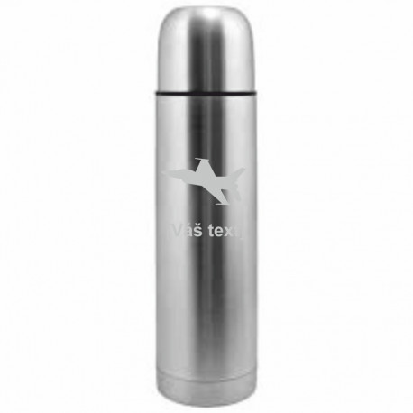 Your - Sandblasted stainless steel thermos with motive of a military, of your choice and your text