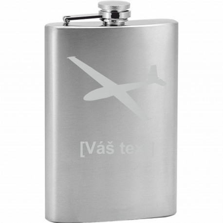Your - Sandblasted stainless steel hip flask with motive of a gliders of your choice and your text