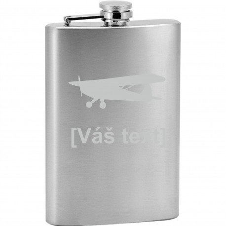 Your - Sandblasted stainless steel hip flask with motive of a sport aircraft of your choice and your text