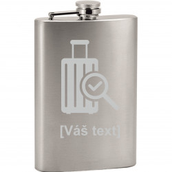 Your - Sandblasted stainless steel hip flask with motive of a airport, of your choice and your text